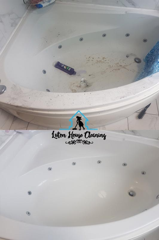 Bath cleaned of grime and other stains